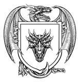 Dragon Heraldic Crest Coat of Arms Emblem Shield. A dragon medieval heraldic coat of arms crest emblem shield royalty free illustration