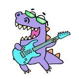 Dragon heureux jouant la guitare électrique en verres noirs Illustration de vecteur Image stock