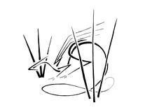 Dragon Hiding en la hierba alta, línea arte estilizada stock de ilustración