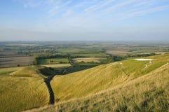 Dragon Hill & för vit häst kulle Arkivfoton