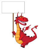 Dragon holding a blank sign Stock Image