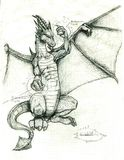 A Dragon Holding Cyrstals In His Hands Royalty Free Stock Photography