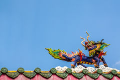 Dragon horse statue on the roof in chinese temple Royalty Free Stock Photo