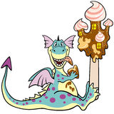 Dragon with ice cream castle. Cartoon dragon eating ice cream castle,picture isolated on white background,children illustration,image for little kids Stock Images