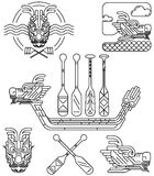 Dragon icon line drawing. For Chinese Dragon boat festival Stock Images