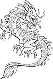 Dragon Illustration. Dragon Tattoo Illustration on white background Stock Photos