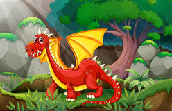 Dragon. Illustration of a dragon in a jungle Stock Photo