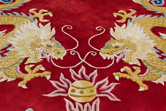Dragon image on the carpet. In chinese temple, Thailand Royalty Free Stock Photos