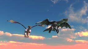Dragon. Image of the dragon and sky vector illustration