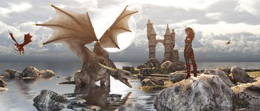 Dragon island. 3d Fantasy dragon resting on the water with woman or dragon keeper stay on the rock in mythical island,fiction banner concept and ideas royalty free illustration