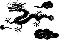 Dragon isolated on white. Chinese New Year dragon, Black and White Clip Art, isolated on white Royalty Free Stock Images