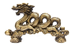 Golden dragon isolated on white background Royalty Free Stock Photos