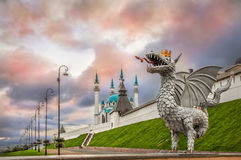 Dragon in Kazan. And the Kul-Sharif Mosque in the multi-colored sky royalty free stock photos