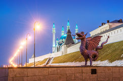 Dragon in Kazan. The statue of the dragon Zilant at the Kazan Kremlin on a winter evening stock image