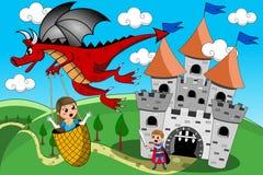 Dragon Kidnapping Princess Prince Castle-Geschichte Lizenzfreie Stockfotos