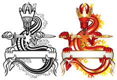 Dragon king. Color and black and white version in one file. Original artwork inspired with traditional Chinese and Japanese dragon arts vector illustration