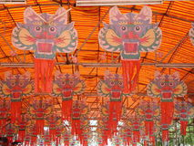 Dragon Kite. Lots of dragon head kite hanging Stock Photography