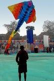 Dragon kite flying. A very huge dragon kite flying at International Kite Festival, Ahmedabad celebrated by Govt.of Gujarat Royalty Free Stock Image