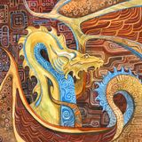 Dragon in Klimt`s style. In a brown, yellow, blue colors vector illustration