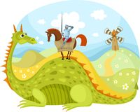 Dragon and knight. Vector illustration of a dragon and knight Royalty Free Stock Images