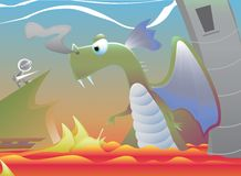Dragon and Knight. Vector cartoon of a knight about to battle a dragon Stock Photography