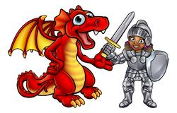 Dragon and Knight Cartoon Characters Royalty Free Stock Photo