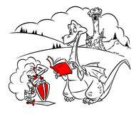 Dragon knight cartoon illustration Stock Photo