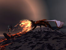 Dragon and knight combat. Armoured knight faces fire breathing dragon Royalty Free Stock Images