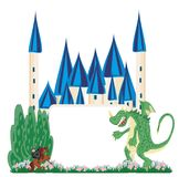 Dragon and knight fighting - frame. Dragon and knight fighting , Vector Illustration Royalty Free Stock Photos