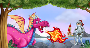 Dragon and knight. Illustration of a dragon and a knight Royalty Free Stock Image