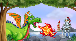 Dragon and knight Stock Images