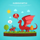 Dragon knight legend illustration flat Stock Photos