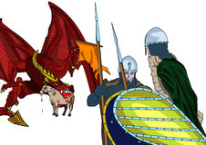 Dragon and knights Stock Images