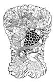 The Dragon and koi carp fish with water splash and peony flower,cherry blossom,peach blossom on cloud background. Japanese tattoo design full back body.The Stock Photography
