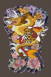 The Dragon and koi carp fish with water splash and peony flower,cherry blossom,peach blossom on cloud background. Japanese tattoo design full back body.The Royalty Free Stock Photography