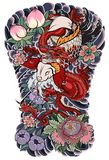 The Dragon and koi carp fish with water splash and peony flower,cherry blossom,peach blossom on cloud background. Japanese tattoo design full back body.The Stock Images