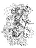 The Dragon and koi carp fish with water splash and peony flower,cherry blossom,peach blossom on cloud background. Japanese tattoo design full back body.The Royalty Free Stock Photo