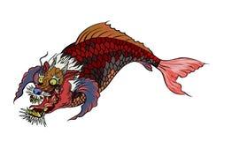 Dragon koi fish, Japanese carp line drawing coloring book vector image. Hand drawn Dragon koi fish, Japanese carp line drawing coloring book vector image Royalty Free Stock Image