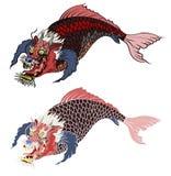 Dragon koi fish, Japanese carp line drawing coloring book vector image. Hand drawn Dragon koi fish, Japanese carp line drawing coloring book vector image Stock Photo