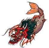 Dragon koi fish, Japanese carp line drawing coloring book vector image. Hand drawn Dragon koi fish, Japanese carp line drawing coloring book vector image Stock Photography