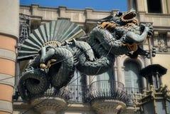 Dragon of La Rambla. Chinese dragon on 19th century House of Umbrellas building on La Rambla in Barcelona, Catalonia, Spain Royalty Free Stock Photos