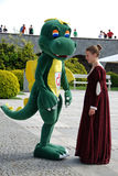 Dragon and the lady Royalty Free Stock Images
