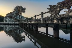 Dragon in the lake of the abandoned park in Hue stock image
