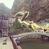 Dragon lake. Of beijing at Great Wall water dam water boat Royalty Free Stock Photo