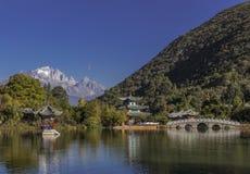 Dragon Lake - Lijiang neri, Cina Fotografie Stock Libere da Diritti