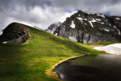 Dragon lake in Timfi. Dragonlake at the top of mountain Timfi in Eripus Greece Stock Image