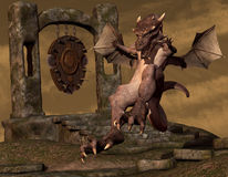 Dragon on landing Royalty Free Stock Images