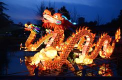 Dragon Lanterns Lighting Up Stock Photos