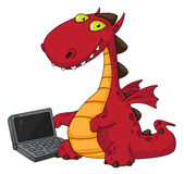 Dragon and laptop. Illustration of a dragon and laptop Stock Photo