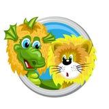 Dragon Leo Zodiac-teken Stock Afbeeldingen